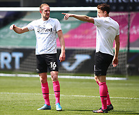 1st May 2021; Liberty Stadium, Swansea, Glamorgan, Wales; English Football League Championship Football, Swansea City versus Derby County; Matthew Clarke of Derby County discusses tactics with team mate Craig Forsyth of Derby County during warm up