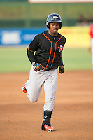 Ronarsy Ledesma (2) of the Delmarva Shorebirds rounds the bases after hitting a home run against the Kannapolis Intimidators at CMC-Northeast Stadium on June 6, 2015 in Kannapolis, North Carolina.  The Shorebirds defeated the Intimidators 7-2.  (Brian Westerholt/Four Seam Images)
