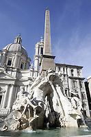 La Fontana dei Quattro Fiumi in Piazza Navona a Roma.<br /> The Fountain of the Four Rivers in Piazza Navona, Rome.<br /> UPDATE IMAGES PRESS/Riccardo De Luca