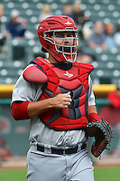 Ed Easley (4) of the Memphis Redbirds on defense against the Salt Lake Bees at Smith's Ballpark on June 18, 2014 in Salt Lake City, Utah.  (Stephen Smith/Four Seam Images)