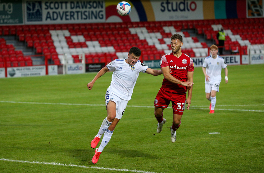 Leeds United U21's Kris Moore battles with Accrington Stanley's Dion Charles<br /> <br /> Photographer Alex Dodd/CameraSport<br /> <br /> EFL Trophy Northern Section Group G - Accrington Stanley v Leeds United U21 - Tuesday 8th September 2020 - Crown Ground - Accrington<br />  <br /> World Copyright © 2020 CameraSport. All rights reserved. 43 Linden Ave. Countesthorpe. Leicester. England. LE8 5PG - Tel: +44 (0) 116 277 4147 - admin@camerasport.com - www.camerasport.com