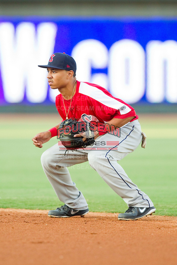 Salem Red Sox second baseman Mookie Betts (16) on defense against the Winston-Salem Dash at BB&T Ballpark on August 15, 2013 in Winston-Salem, North Carolina.  The Red Sox defeated the Dash 2-1.  (Brian Westerholt/Four Seam Images)