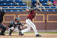 Kokko Figueiredo (18) of the North Carolina Central Eagles at bat against the North Carolina A&T Aggies at Durham Athletic Park on April 10, 2021 in Durham, North Carolina. (Brian Westerholt/Four Seam Images)