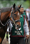 July 21, 2012  Cash For Clunkers walks in the paddock before competing in the Delaware Handicap at Delaware Park, Stanton, DE. She is trained by Richard Violette, Jr.; finished last in the race, which was won by Royal Delta. ©Joan Fairman Kanes/Eclipse Sportswire
