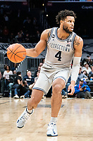 WASHINGTON, DC - FEBRUARY 19: Jagan Mosely #4 of Georgetown moves up court during a game between Providence and Georgetown at Capital One Arena on February 19, 2020 in Washington, DC.