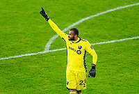 WASHINGTON, DC - NOVEMBER 8: Clement Diop #23 of the Montreal Impact yells to his team during a game between Montreal Impact and D.C. United at Audi Field on November 8, 2020 in Washington, DC.