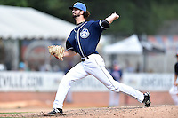 Asheville Tourists pitcher Daniel Koger (28) delivers a pitch during a game against the Hagerstown Suns and the  at McCormick Field on September 5, 2016 in Asheville, North Carolina. The Suns defeated the Tourists 9-5. (Tony Farlow/Four Seam Images)