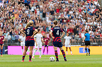 EAST HARTFORD, CT - JULY 5: Lindsey Horan, #9 and Becky Sauerbrunn #4 of the United States during a game between Mexico and USWNT at Rentschler Field on July 5, 2021 in East Hartford, Connecticut.