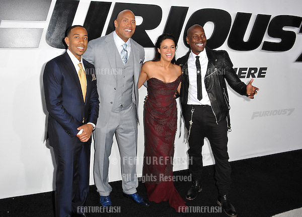 """Chris """"Ludacris"""" Bridges (left), Dwayne """"The Rock"""" Johnson, Michelle Rodriguez & Tyrese Gibson at the world premiere of their movie """"Furious 7"""" at the TCL Chinese Theatre, Hollywood.<br /> April 1, 2015  Los Angeles, CA<br /> Picture: Paul Smith / Featureflash"""