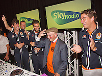 14-sept.-2013,Netherlands, Groningen,  Martini Plaza, Tennis, DavisCup Netherlands-Austria, ,  Dutch Team celebration with students , Ltr: , Robin Haase, captain Jan Siemerink, Jean-Julien Rojer,  opa Scheer and Jesse Huta Galung <br /> Photo: Henk Koster
