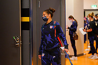 SOLNA, SWEDEN - APRIL 10: Carli Lloyd #10 of the United States enters the locker room before a game between Sweden and USWNT at Friends Arena on April 10, 2021 in Solna, Sweden.