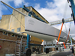preparation of the brand new 63 feet Loki at Woolwich Dock, Sydney..McConaghy Boats in Mona Vale, Australia built the new Reichel-Pugh 63 Loki For Stephen Ainsworth.