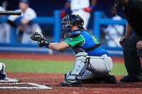 Lexington Legends catcher Jordan Pacheco (40) sets a target during the game against the High Point Rockers at Truist Point on June 16, 2021, in High Point, North Carolina. The Legends defeated the Rockers 2-1. (Brian Westerholt/Four Seam Images)