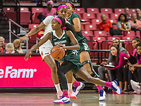 COLLEGE PARK, MD - FEBRUARY 03: Nia Clouden #24 of Michigan State dribbles past Kaila Charles #5 of Maryland during a game between Michigan State and Maryland at Xfinity Center on February 03, 2020 in College Park, Maryland.