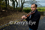 Fiddle Player Seán Abeyta at home in Kilflynn providing online lesson to students through Zoom on Sunday.