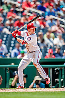 1 August 2018: Washington Nationals shortstop Trea Turner at bat against the New York Mets at Nationals Park in Washington, DC. The Nationals defeated the Mets 5-3 to sweep the 2-game weekday series. Mandatory Credit: Ed Wolfstein Photo *** RAW (NEF) Image File Available ***