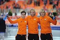 OLYMPICS: SOCHI: Adler Arena, 10-02-2014, 500m Men, podium, Jan Smeekens (NED), Michel Mulder (NED), Ronald Mulder (NED), ©foto Martin de Jong