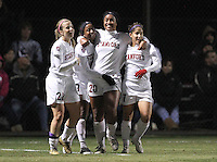 STANFORD, CA:  Mariah Nogueria celebrates her goal with Allison MCann (22), Lindsay Taylor (17) and Teresa Noyola (7) in Stanford's 5-0 victory over Florida State at Stanford, California on November 26, 2010.