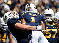 Tyler Rigsbee of California celebrates with Bryce Treggs of California  after Treggs scored a touchdown during the game against Nevada at Memorial Stadium in Berkeley, California on September 1st, 2012.  Nevada Wolf Pack defeated California, 31-24.