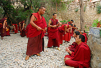 Novice Gelugpa monks with mala beads, debate Buddhist philosophy in the courtyard at Drepung monastery, Lhasa, Tibet, China.