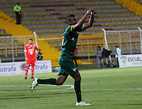 BOGOTA -COLOMBIA, 26-08-2016. Amaury Torralvo  jugador de La Equidad celebra su gol contra  Fortaleza durante encuentro  por la fecha 10 de la Liga Aguila II 2016 disputado en el estadio Metropolitano de Techo./ Amaury Torralvo player of La Equidad celebrates his goal against  of Fortaleza  during match for the date 10 of the Aguila League II 2016 played at Nemesio Camacho El Campin stadium . Photo:VizzorImage / Felipe Caicedo  / Staff