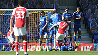 A free-kick from Fleetwood's Wes Burns is blocked by the AFC Wimbledon defensive wall during AFC Wimbledon vs Fleetwood Town, Sky Bet EFL League 1 Football at Plough Lane on 5th April 2021