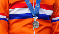 03 NOV 2012 - IPSWICH, GBR - Mike Teunissen (NED) of the Netherlands listens to the Dutch National Anthem during the medal ceremony for the Under 23 Men's European Cyclo-Cross Championships in Chantry Park, Ipswich, Suffolk, Great Britain (PHOTO (C) 2012 NIGEL FARROW)
