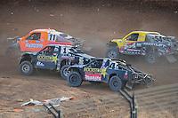 Dec. 11, 2011; Chandler, AZ, USA;  LOORRS pro 2 driver Adrian Cenni (11), Rob MacCachren (1) Todd LeDuc (4) and Rob Naughton (54) during the Lucas Oil Challenge Cup at Firebird International Raceway. Mandatory Credit: Mark J. Rebilas-