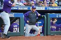 LSU Tigers head coach Paul Mainieri watches from the dugout during the game against the Baylor Bears in game five of the 2020 Shriners Hospitals for Children College Classic at Minute Maid Park on February 28, 2020 in Houston, Texas. The Bears defeated the Tigers 6-4. (Brian Westerholt/Four Seam Images)