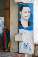 Afrique/Afrique de l'Est/Tanzanie/Zanzibar/Ile Unguja/Stone Town: Mur peint, enseigne d'une echoppe de coiffeur de la vieille ville