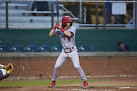 Vincent Bianchi (5) of the St. John's Red Storm at bat against the Western Carolina Catamounts at Childress Field on March 13, 2021 in Cullowhee, North Carolina. (Brian Westerholt/Four Seam Images)