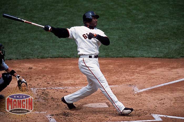SAN FRANCISCO, CA:  Barry Bonds of the San Francisco Giants bats during a game against the Colorado Rockies at Pacific Bell Park in San Francisco, California in 2000. (Photo by Brad Mangin)