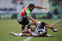 20130309 Copyright onEdition 2013©.Free for editorial use image, please credit: onEdition..Semesa Rokoduguni of Bath Rugby  is tackled by Kyle Sinckler of Harlequins during the LV= Cup semi final match between Harlequins and Bath Rugby at The Twickenham Stoop on Saturday 9th March 2013 (Photo by Rob Munro)..For press contacts contact: Sam Feasey at brandRapport on M: +44 (0)7717 757114 E: SFeasey@brand-rapport.com..If you require a higher resolution image or you have any other onEdition photographic enquiries, please contact onEdition on 0845 900 2 900 or email info@onEdition.com.This image is copyright onEdition 2013©..This image has been supplied by onEdition and must be credited onEdition. The author is asserting his full Moral rights in relation to the publication of this image. Rights for onward transmission of any image or file is not granted or implied. Changing or deleting Copyright information is illegal as specified in the Copyright, Design and Patents Act 1988. If you are in any way unsure of your right to publish this image please contact onEdition on 0845 900 2 900 or email info@onEdition.com