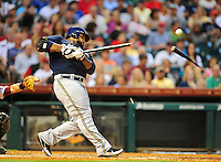 Apr. 30, 2011; Houston, TX, USA: Milwaukee Brewers batter Prince Fielder breaks a bat in the sixth inning against the Houston Astros at Minute Maid Park. Mandatory Credit: Mark J. Rebilas-