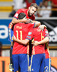 Spain's Jordi Alba, Vitolo, Sergi Roberto and Nolito celebrate goal during FIFA World Cup 2018 Qualifying Round match. September 5,2016.(ALTERPHOTOS/Acero)