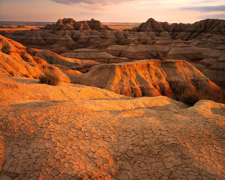 Sunset light on eroded clay mounds; Badlands National Park, SD
