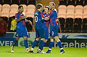 CALEY'S JONNY HAYES IS CONGRATULATED AFTER HE SCORES INVERNESS' SECOND GOAL..03/12/2011   Copyright  Pic : James Stewart.sct_jsp007_st_mirren_v_ict  .James Stewart Photography 19 Carronlea Drive, Falkirk. FK2 8DN      Vat Reg No. 607 6932 25.Telephone      : +44 (0)1324 570291 .Mobile              : +44 (0)7721 416997.E-mail  :  jim@jspa.co.uk.If you require further information then contact Jim Stewart on any of the numbers above.........