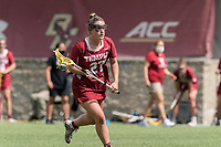 NEWTON, MA - MAY 16: Bridget Whitaker #27 of Temple University brings the ball forward during NCAA Division I Women's Lacrosse Tournament second round game between Temple University and Boston College at Newton Campus Lacrosse Field on May 16, 2021 in Newton, Massachusetts.