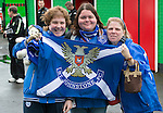 Glentoran v St Johnstone…. 09.07.16  The Oval, Belfast  Pre-Season Friendly<br />Pictured from left, Robyn Reid, Karen Forbes and Linsey Reid<br />Picture by Graeme Hart.<br />Copyright Perthshire Picture Agency<br />Tel: 01738 623350  Mobile: 07990 594431
