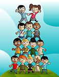 Illustration of multi ethnic children forming pyramid