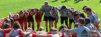 Belgian players and the staff at the huddle before an international friendly female soccer game between the national teams of Belgium , called the Red Flames U17 and the Netherlands on Wednesday 8th of September 2020  in Kalmthout , Belgium . PHOTO SPORTPIX.BE | SPP | SEVIL OKTEM