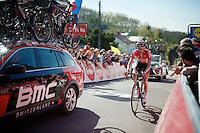 Tim Wellens (BEL/Lotto-Soudal) rolling in up the Mur de Huy<br /> <br /> Flèche Wallonne 2016