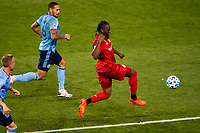 HARRISON, NJ - SEPTEMBER 23: HARRISON, NJ - Wednesday, September 23, 2020: Ayo Akinola, Alexander Callens during a game between New York City FC and Toronto FC on September 23, 2020 at Red Bull Arena in Harrison, New Jersey during a game between Toronto FC and New York City FC at Red Bull Arena on September 23, 2020 in Harrison, New Jersey.