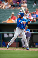 Iowa Cubs pinch hitter Tommy La Stella (22) at bat during a game against the Memphis Redbirds on May 29, 2017 at AutoZone Park in Memphis, Tennessee.  Memphis defeated Iowa 6-5.  (Mike Janes/Four Seam Images)
