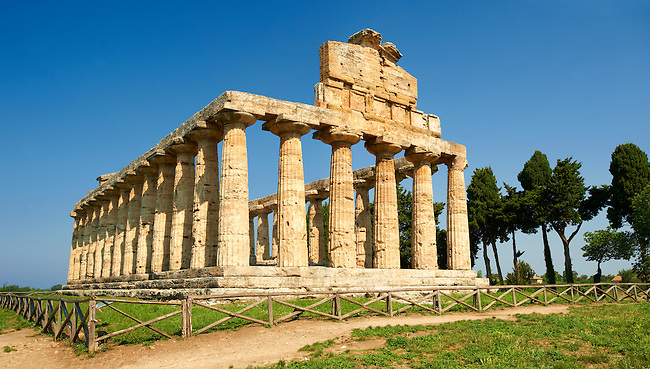 The ancient Doric Greek  temple of Athena of Pastum built in about 500 BC.  Paestum archaeological site, Italy.
