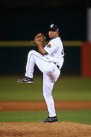 Connecticut Tigers pitcher Jose Lopez (49) delivers a pitch during the first game of a doubleheader against the Brooklyn Cyclones on September 2, 2015 at Senator Thomas J. Dodd Memorial Stadium in Norwich, Connecticut.  Brooklyn defeated Connecticut 7-1.  (Mike Janes/Four Seam Images)
