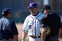 High Point Panthers head coach Craig Cozart meets with NJIT Highlanders head coach Brian Guiliana and home plate umpire David Pritchett prior to the NCAA baseball game at Williard Stadium on February 19, 2017 in High Point, North Carolina. The Panthers defeated the Highlanders 6-5. (Brian Westerholt/Four Seam Images)