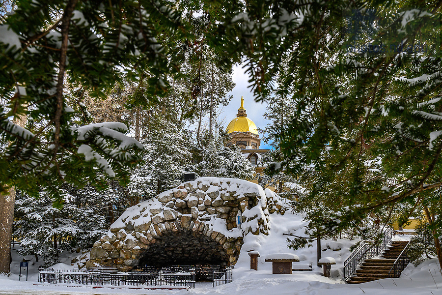 February 16, 2021; Grotto in winter, 2021 (Photo by Matt Cashore/University of Notre Dame)
