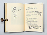 BNPS.co.uk (01202 558833)<br /> Pic: PeterHarringtonBooks/BNPS<br /> <br /> Elvis Presley's heavily annotated personal copy of a classic poetry book has emerged for sale for £19,500.<br /> <br /> The king of rock 'n' roll presented the copy of the 1966 edition of Lebanese-American poet Kahlil Gibran's The Prophet to Ed Parker, his longtime friend and karate teacher.<br /> <br /> It was one of his favourite books and he is said to have read it so often that he memorised passages.<br /> <br /> Elvis made notes alongside the text including 'when you're not in love, you're not alive' and 'these paths are not always clear to us... but like God himself, these things will reveal themselves'.