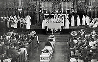 1989 FILE PHOTO - ARCHIVES -<br /> <br /> Thousands at funeral: Relatives; students and dignitaries attend service for nine of the 14 massacre victims in Montreal's Notre Dame Basilica<br /> <br /> 1989<br /> <br /> PHOTO : Boris Spremo - Toronto Star Archives - AQP